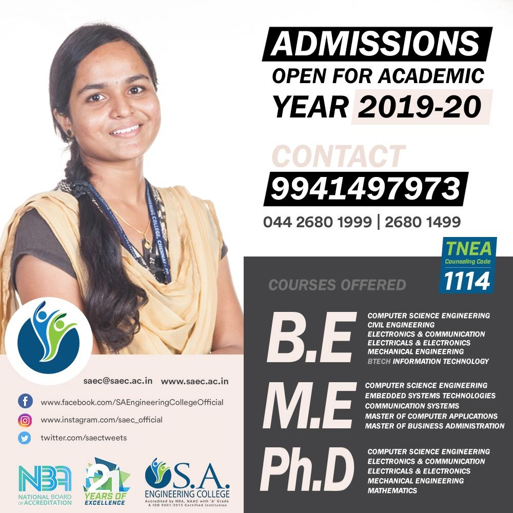 Admissions Open for Academic year 2019 to 2020